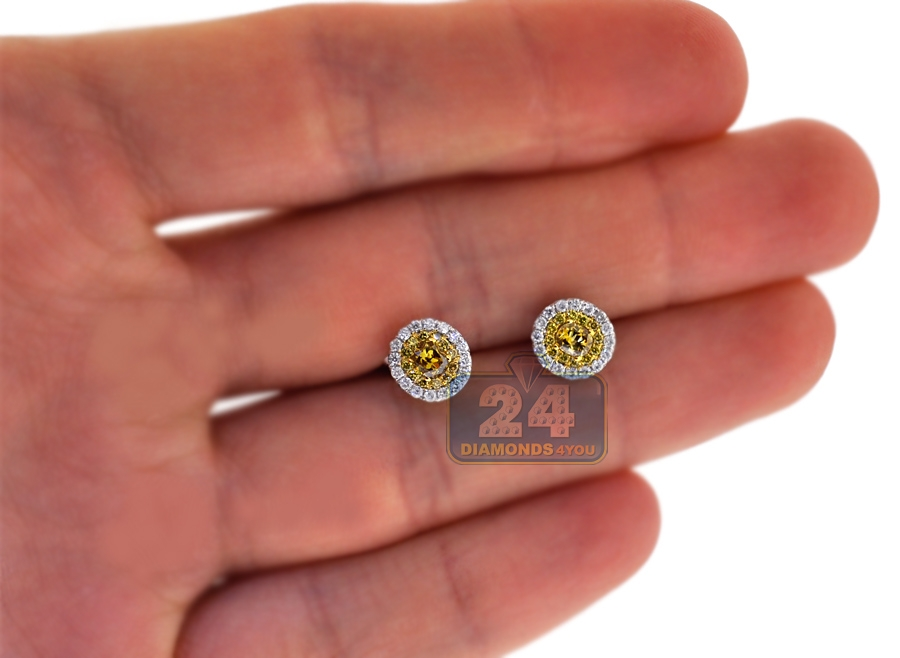 Womens Yellow Diamond Oval Stud Earrings 14k White Gold 0