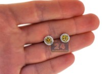 Womens Yellow Diamond Stud Earrings 14K White Gold 0.87 ct
