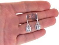 Womens Diamond Drop Earrings 18K White Gold 1.65 ct