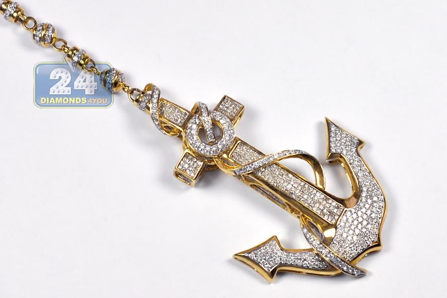 Mens Diamond Anchor Skull Rosary Necklace 14k Yellow Gold