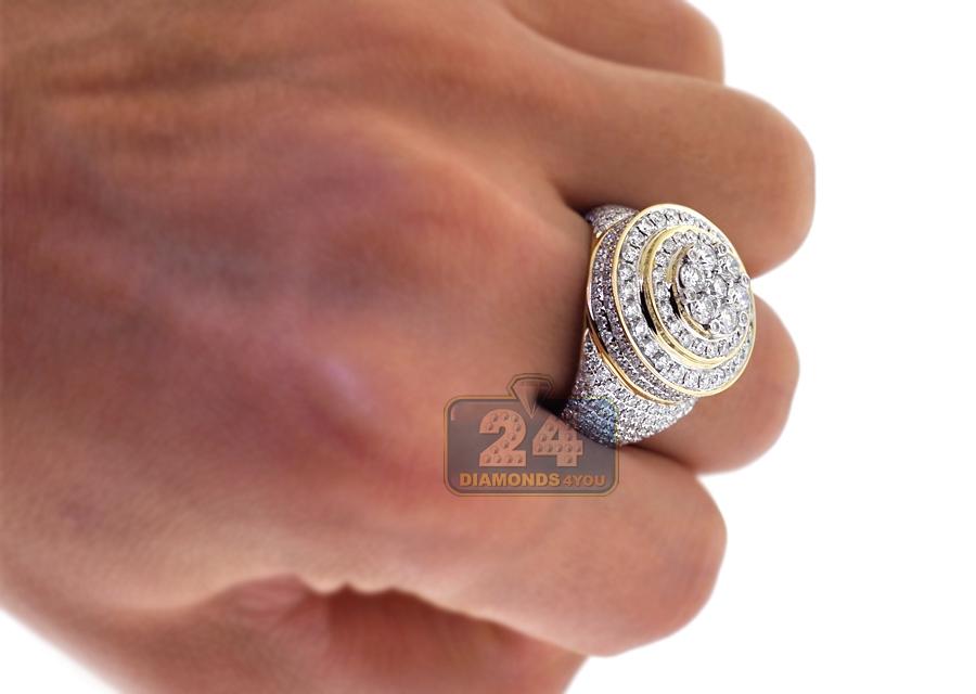 Mens Diamond Cluster Round Pinky Ring 10k Yellow Gold 473 Ct