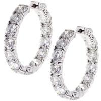 Womens Inside Out Diamond Round Hoop Earrings 18K Gold 12 ...