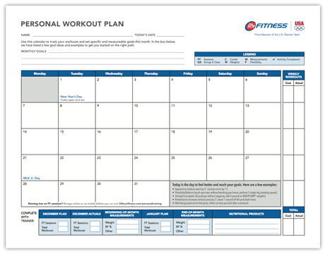 Monthly Workout Plan 24 Hour Fitness - monthly workout log
