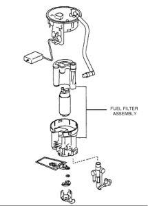 2004 toyota fuel filter located highlander