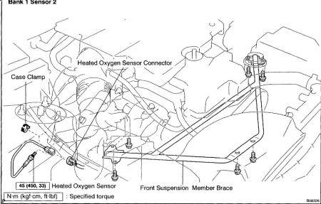 2001 Lexus GS 300 PO 141 Code Location of O2 Senser Bank 1 Sensor