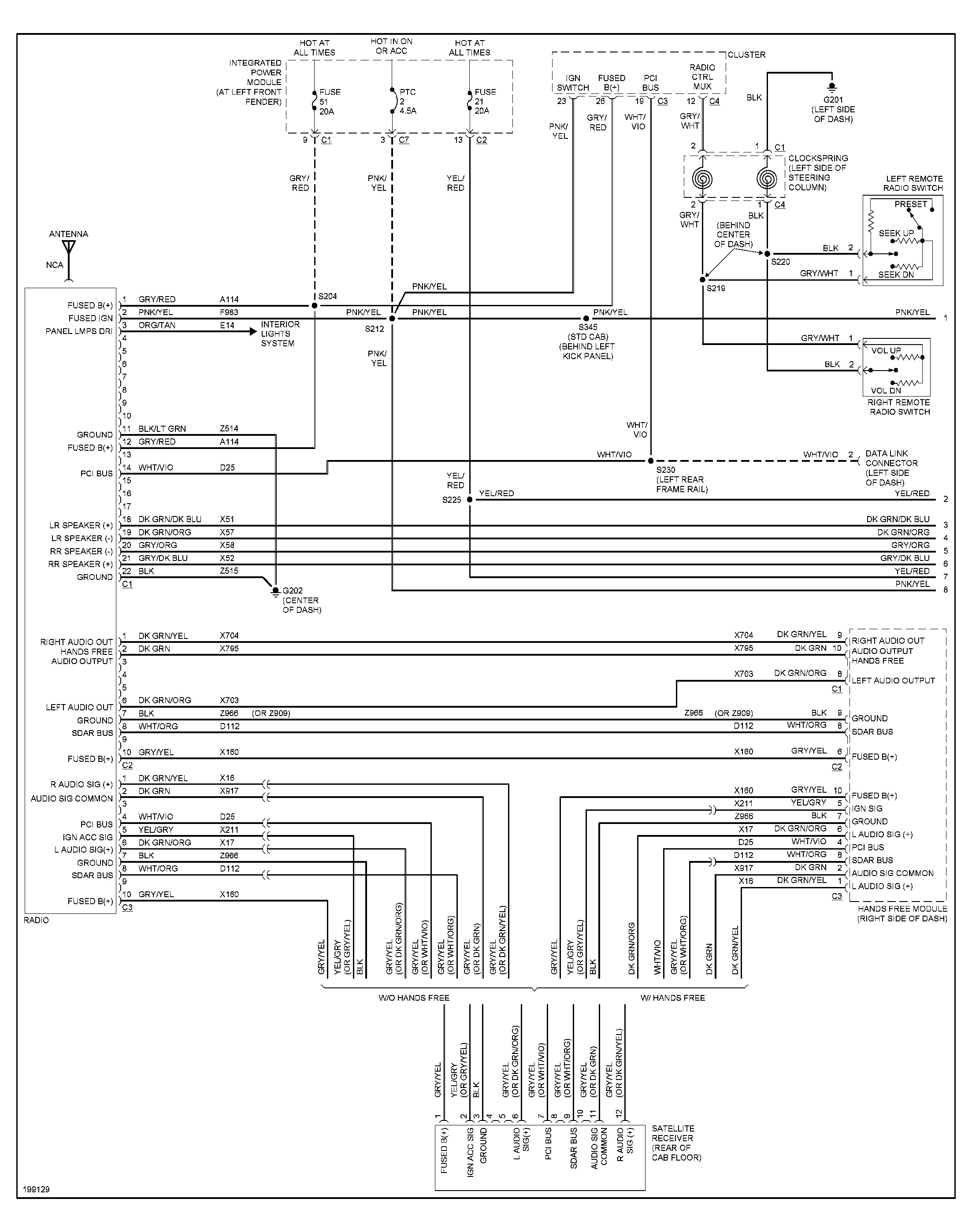 dodge dakota radio wiring diagram 1998