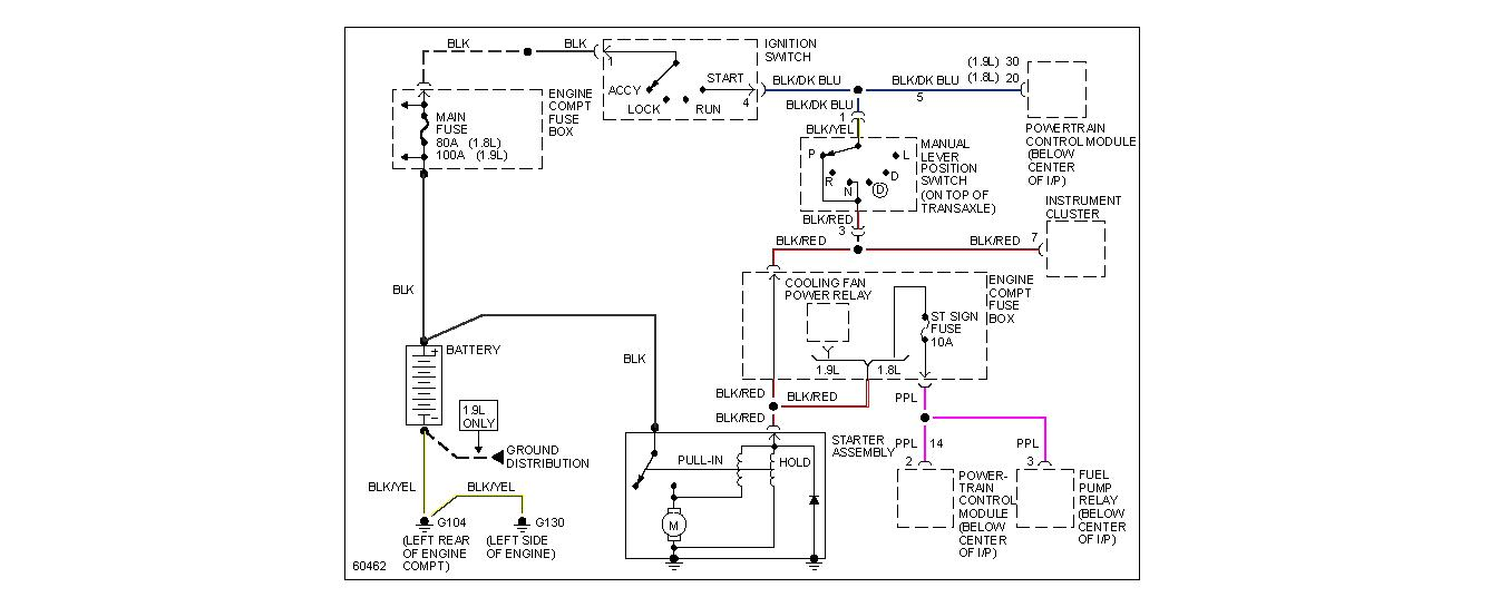 Wiring Diagram 94 Ford Escort 19 Automatic Starter to Ignition