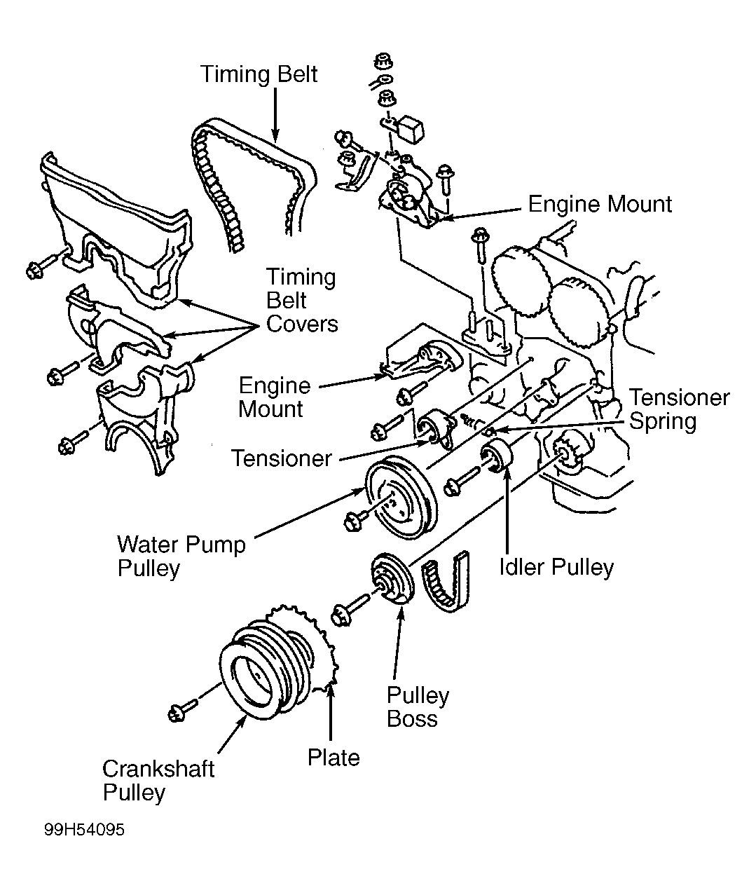 1998 mazda protege water pump belt diagram