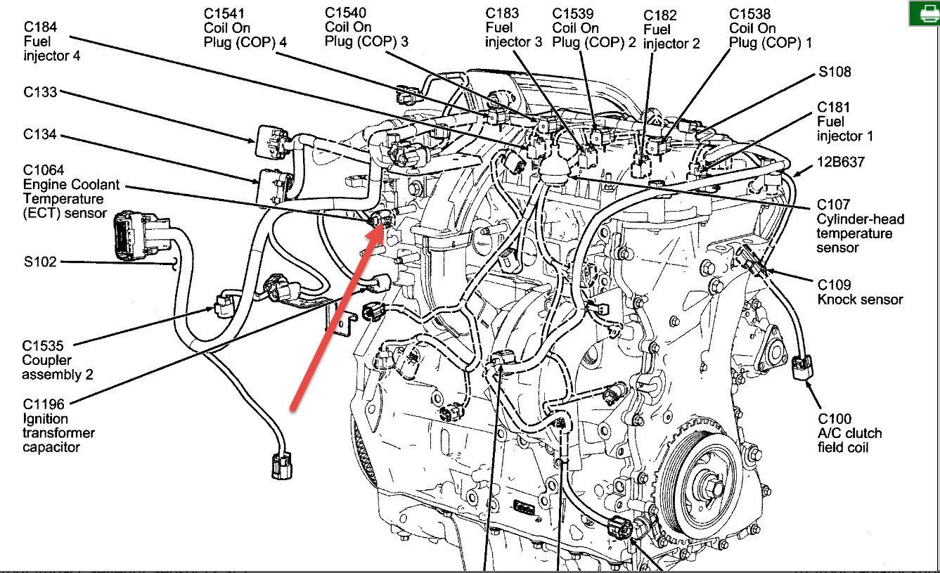 2008 ford fusion engine diagram coolant temperature sensor