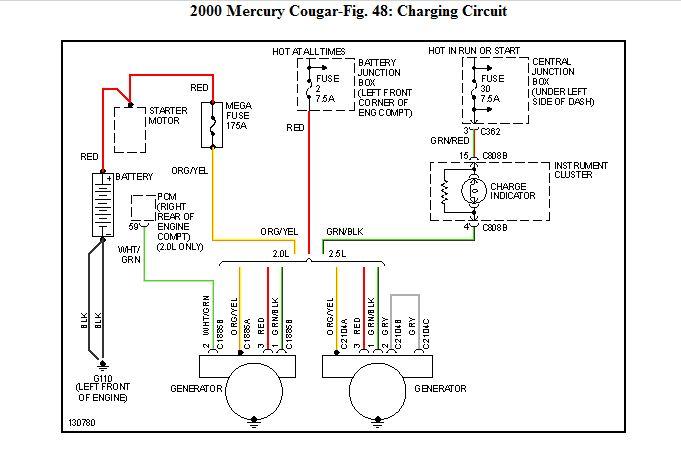 ford alternator wiring diagram 2000 cougar