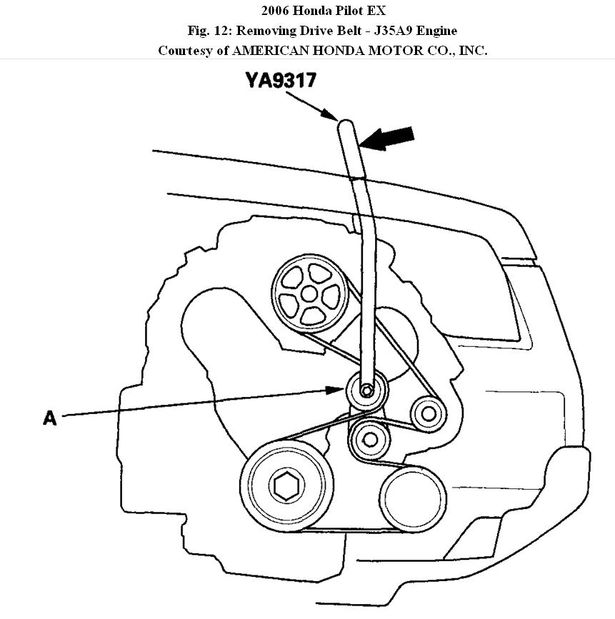 replace drive belt diagram on 2005 honda pilot
