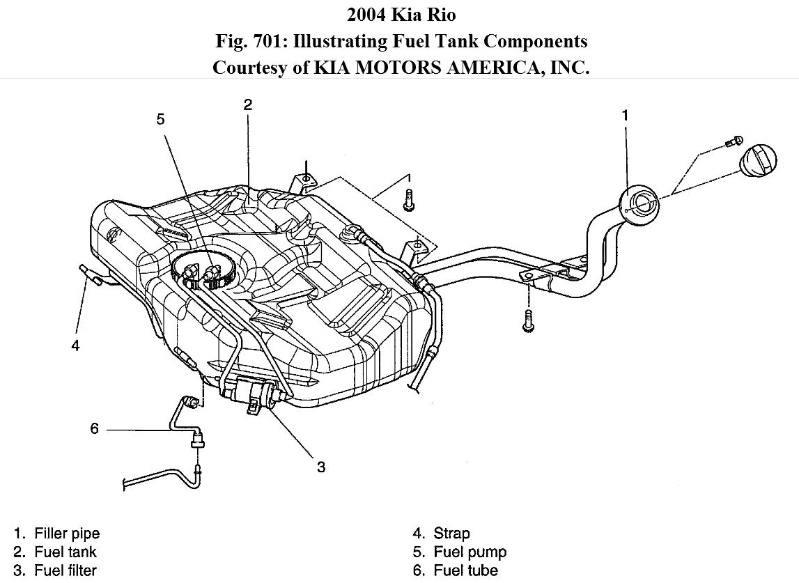 2004 kia rio fuel filter location