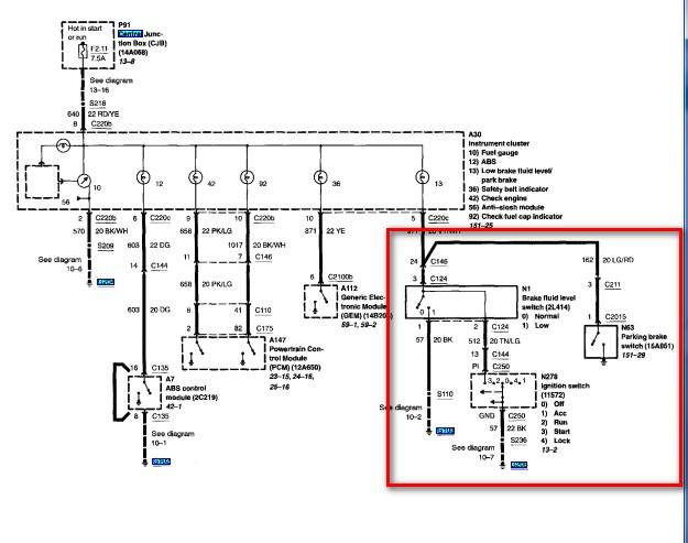 ford brake light wiring diagram