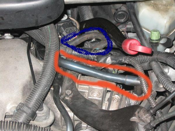 2000 Chevy Venture Vacuum Hose Ok the Hose on the Red Circled