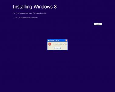 Windows 8 installation has failed