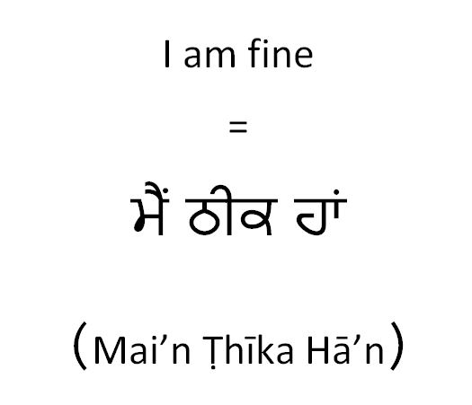How to say in Punjabi I am fine