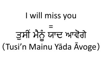 How do you say I will miss you in Punjabi