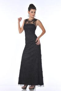 CD1980, Spaghetti Strapped Mesh Overlay Prom Dress
