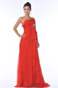 CDK21115, Spaghetti Strapped Rhinestones Tulle Prom Dress