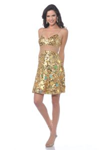 CD463, Spaghetti Strapped Sequin Fitted Prom Dress
