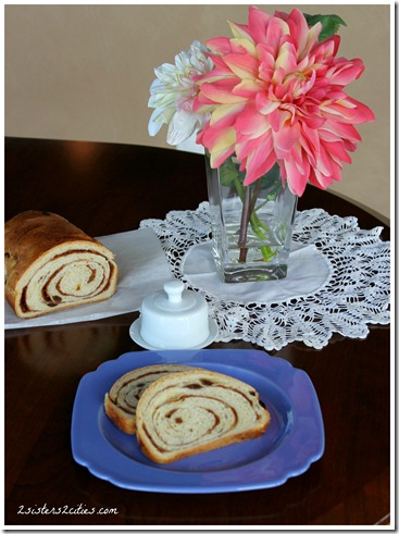 Cinnamon Raisin Swirl Bread {from 2 Sisters 2 Cities}