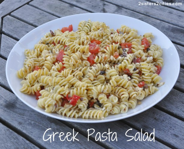 Greek Pasta Salad (from 2 Sisters 2 Cities}