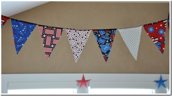 Pennant Banner with Hand-Folded Stars in Background