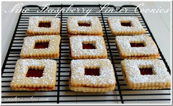 Nine Raspberry Linzer Cookies | 2 Sisters 2 Cities