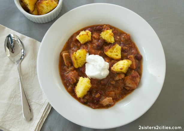 Chicken Chili with Corn Muffin Croutons