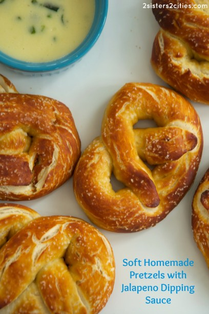 soft homemade pretzels with jalapeño dipping sauce
