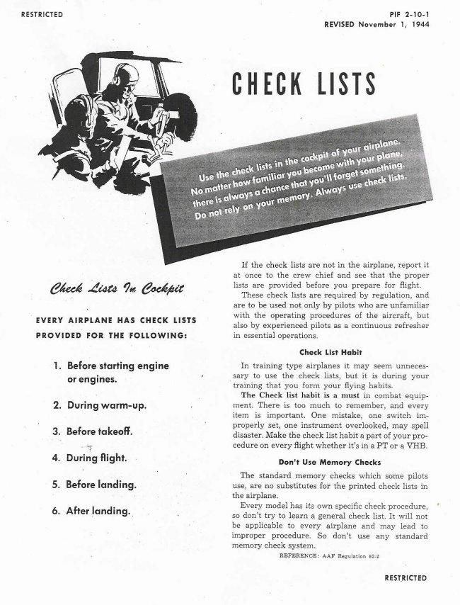 B-17 Cockpit Checklist
