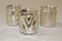 Gold & Cream Mercury Glass Tea Light Holders with Candles ...
