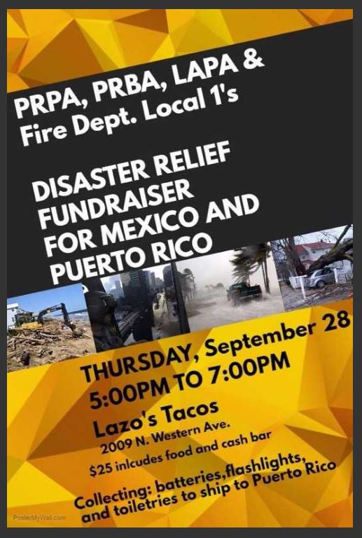 Disaster Relief Fundraiser for Mexico and Puerto Rico - Disaster Relief Flyer
