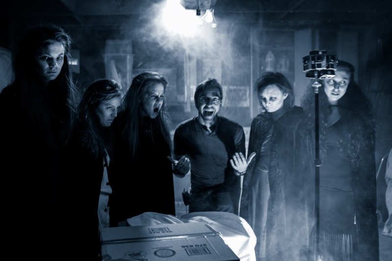 Light Sail VR's Matthew Celia on set with Paranormal actors.