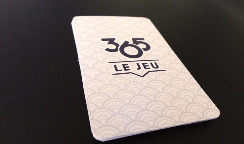 Photo du dos des cartes de 365 le jeu prototype