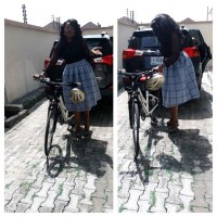 Fuel Scarcity: Funke Akindele Took Bicycle To Church This Morning, Here's Proof | Photo