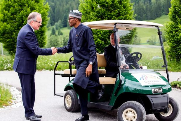PIC. 1. PRESIDENT MUHAMMADU BUHARI, BEING WELCOMED BY THE GERMAN CHIEF OF PROTOCOL, MR JUERGEN MERTUER ON ARRIVAL FOR THE WORKING SESSION OF THE G7 OUTREACH PROGRAMME AT SCHLOSS ELMAU IN GERMANY ON MONDAY (8/6/15). 2972/87/6/15/ICE/BJO/NAN