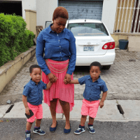 Actress Taiwo Aromokun Who Is A Twin Rocks Matching Outfit With Her Cute Twin Boys (Photos)