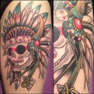 Old School Indian Skull | Aubrey | 39th Street Tattoo Kansas City