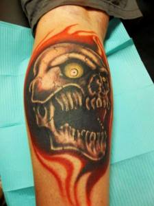 Flaming Skull | Joe | 39th Street Tattoo Kansas City
