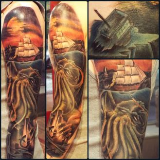 Cthulhu Sleeve | Aubrey | 39th Street Tattoo Kansas City