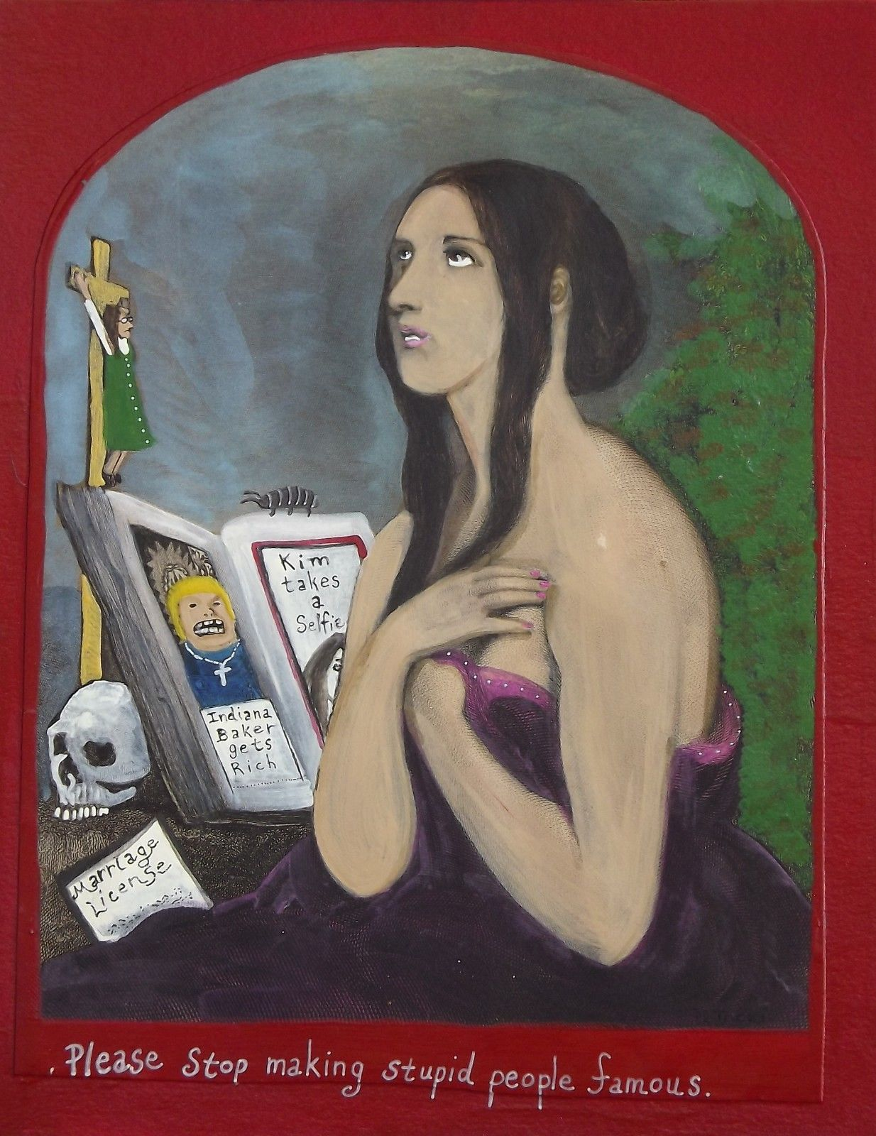 Stop making stupid people famous 8x10 painting on vintage lithograph