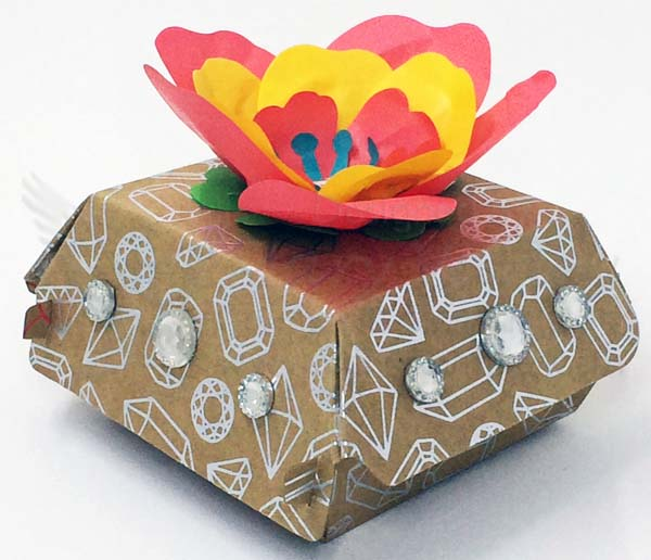 Bejeweled Cotton Paper Flower Hamburger Box-Visit http://www.3amstamper.com