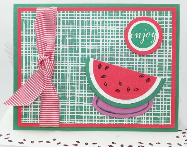 Emerald Envy Watermelon Punch Art Card - visit http://www.3amstamper.com