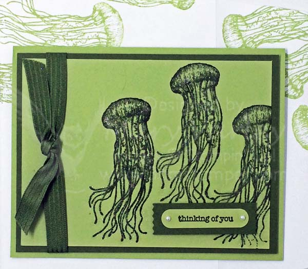 Pear Pizzazz Jellyfish Thinking of You Card - visit http://www.3amstamper.com