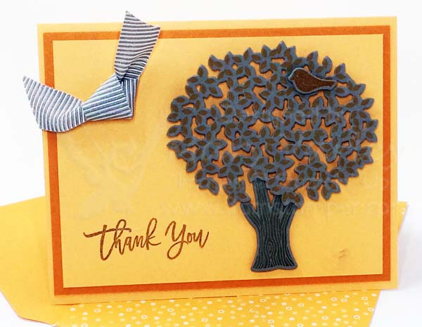 Peekaboo Peach Thoughtful Branches Thank You Card - Visit http://www.3amsstamper.com