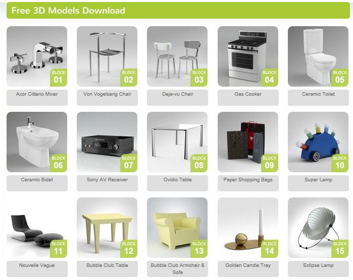 modelli 3D di arredi free download