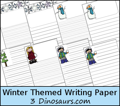 3 Dinosaurs - Winter Themed Writing Paper