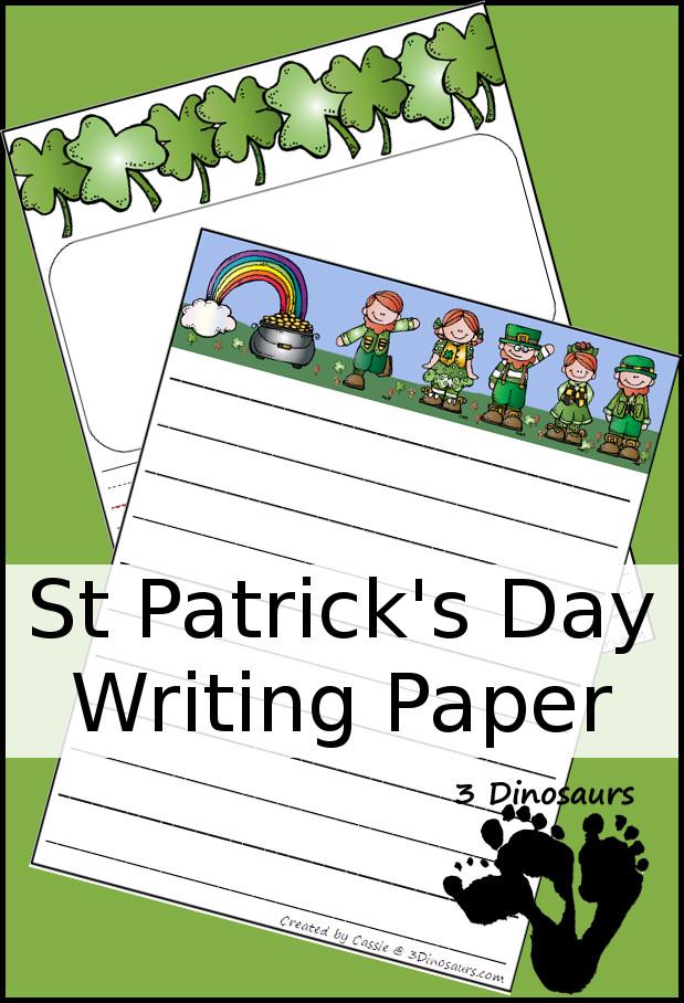 Free St Patrick\u0027s Day Writing Paper 3 Dinosaurs
