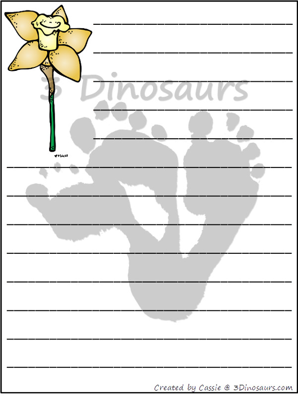 Free Flower Themed Writing Paper Printable 3 Dinosaurs
